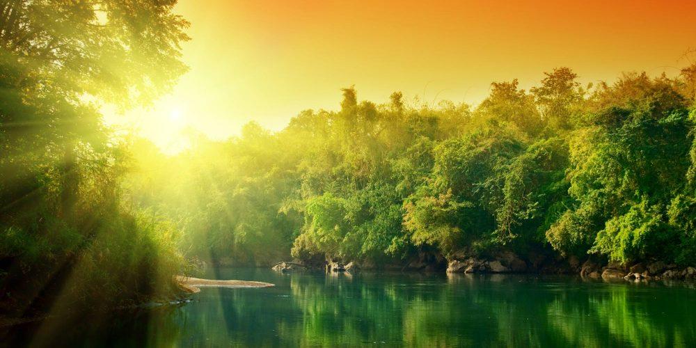 Landschaft-Sonne-See